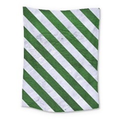 Stripes3 White Marble & Green Leather Medium Tapestry