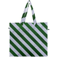 Stripes3 White Marble & Green Leather Canvas Travel Bag by trendistuff