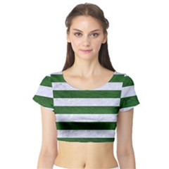 Stripes2 White Marble & Green Leather Short Sleeve Crop Top