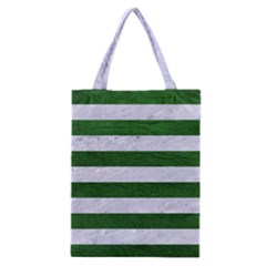 Stripes2 White Marble & Green Leather Classic Tote Bag