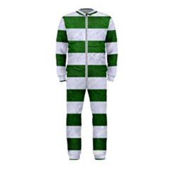 Stripes2 White Marble & Green Leather Onepiece Jumpsuit (kids)