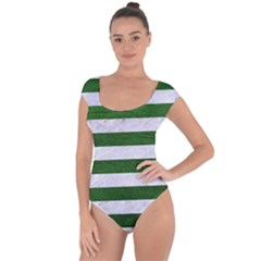 Stripes2 White Marble & Green Leather Short Sleeve Leotard