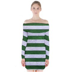 Stripes2 White Marble & Green Leather Long Sleeve Off Shoulder Dress