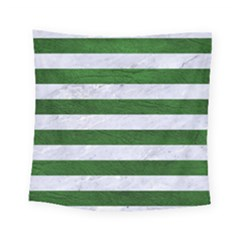 Stripes2 White Marble & Green Leather Square Tapestry (small)