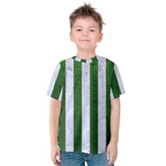 Stripes1 White Marble & Green Leather Kids  Cotton Tee