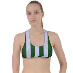 Stripes1 White Marble & Green Leather Criss Cross Racerback Sports Bra