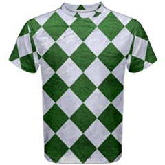 Square2 White Marble & Green Leather Men s Cotton Tee
