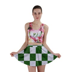 Square1 White Marble & Green Leather Mini Skirt