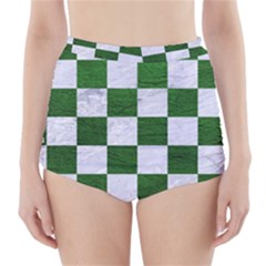 Square1 White Marble & Green Leather High Waisted Bikini Bottoms
