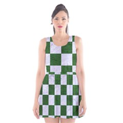 Square1 White Marble & Green Leather Scoop Neck Skater Dress