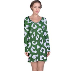 Skin5 White Marble & Green Leather (r) Long Sleeve Nightdress
