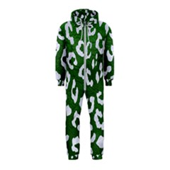 Skin5 White Marble & Green Leather (r) Hooded Jumpsuit (kids)