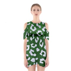 Skin5 White Marble & Green Leather (r) Shoulder Cutout One Piece