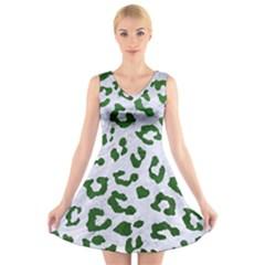 Skin5 White Marble & Green Leather V Neck Sleeveless Dress