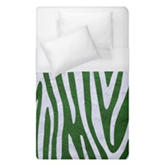 Skin4 White Marble & Green Leather (r) Duvet Cover (single Size)