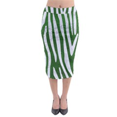 Skin4 White Marble & Green Leather (r) Midi Pencil Skirt