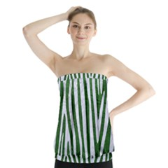 Skin4 White Marble & Green Leather (r) Strapless Top