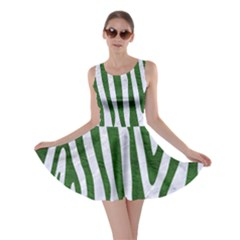 Skin4 White Marble & Green Leather Skater Dress