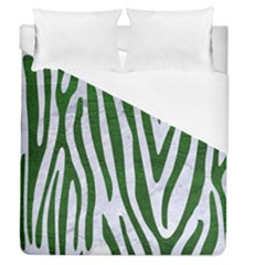 Skin4 White Marble & Green Leather Duvet Cover (queen Size)