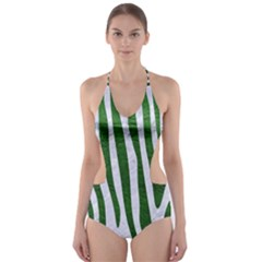 Skin4 White Marble & Green Leather Cut Out One Piece Swimsuit by trendistuff