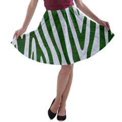 Skin4 White Marble & Green Leather A Line Skater Skirt