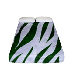 Skin3 White Marble & Green Leather (r) Fitted Sheet (full/ Double Size)