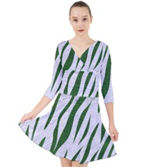 Skin3 White Marble & Green Leather (r) Quarter Sleeve Front Wrap Dress