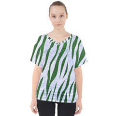 Skin3 White Marble & Green Leather (r) V Neck Dolman Drape Top