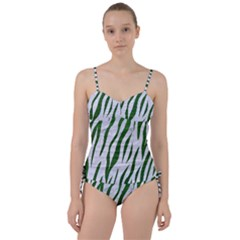 Skin3 White Marble & Green Leather (r) Sweetheart Tankini Set