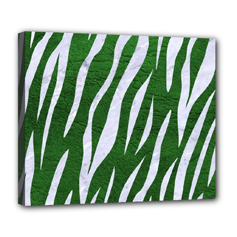 Skin3 White Marble & Green Leather Deluxe Canvas 24  X 20