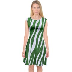 Skin3 White Marble & Green Leather Capsleeve Midi Dress