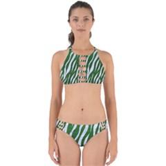 Skin3 White Marble & Green Leather Perfectly Cut Out Bikini Set
