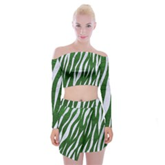 Skin3 White Marble & Green Leather Off Shoulder Top With Mini Skirt Set
