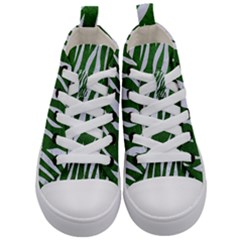 Skin3 White Marble & Green Leather Kid s Mid Top Canvas Sneakers