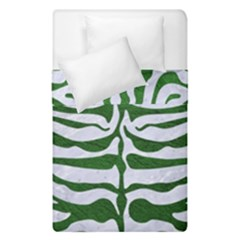 Skin2 White Marble & Green Leather (r) Duvet Cover Double Side (single Size)
