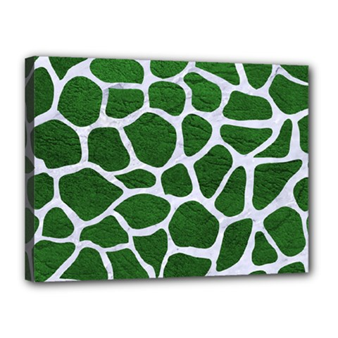 Skin1 White Marble & Green Leather (r) Canvas 16  X 12