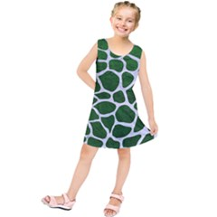 Skin1 White Marble & Green Leather (r) Kids  Tunic Dress