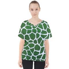 Skin1 White Marble & Green Leather (r) V Neck Dolman Drape Top