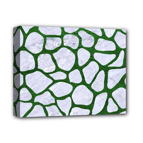 Skin1 White Marble & Green Leather Deluxe Canvas 14  X 11  by trendistuff