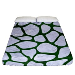 Skin1 White Marble & Green Leather Fitted Sheet (queen Size)