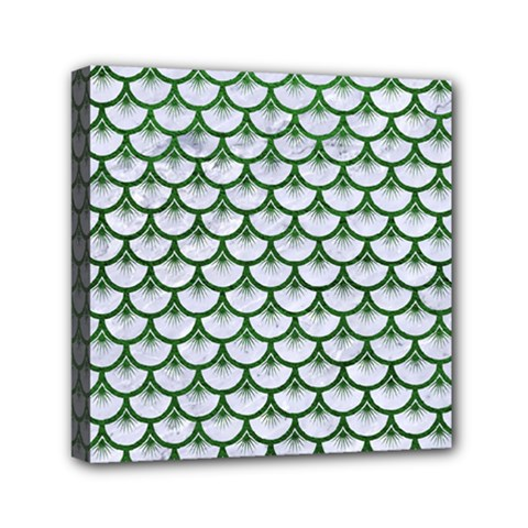 Scales3 White Marble & Green Leather (r) Mini Canvas 6  X 6