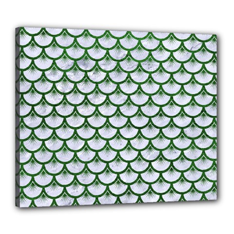 Scales3 White Marble & Green Leather (r) Canvas 24  X 20