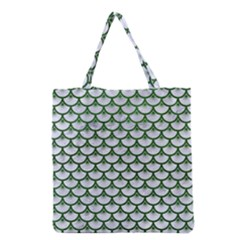 Scales3 White Marble & Green Leather (r) Grocery Tote Bag by trendistuff