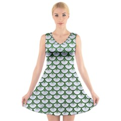 Scales3 White Marble & Green Leather (r) V Neck Sleeveless Dress