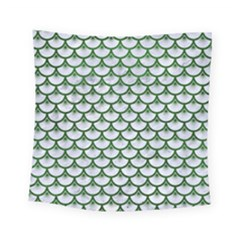 Scales3 White Marble & Green Leather (r) Square Tapestry (small)
