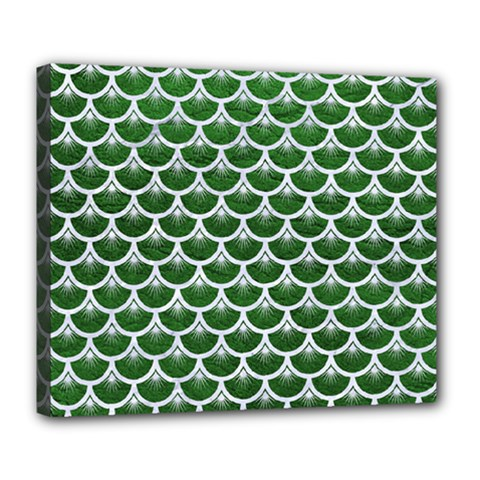 Scales3 White Marble & Green Leather Deluxe Canvas 24  X 20