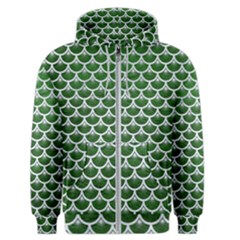 Scales3 White Marble & Green Leather Men s Zipper Hoodie