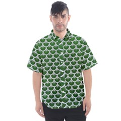 Scales3 White Marble & Green Leather Men s Short Sleeve Shirt