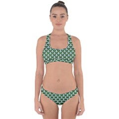 Scales3 White Marble & Green Leather Cross Back Hipster Bikini Set