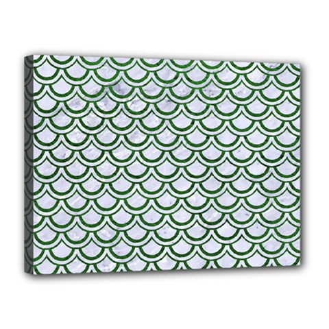 Scales2 White Marble & Green Leather (r) Canvas 16  X 12
